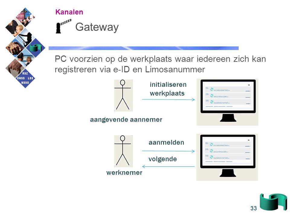 33 Gateway PC voorzien op de werkplaats waar iedereen zich kan registreren via e-ID en Limosanummer initialiseren werkplaats werknemer aanmelden volge