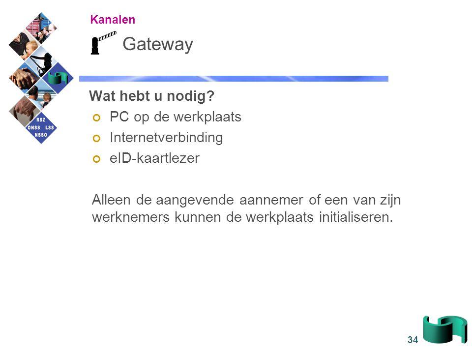 34 Gateway Wat hebt u nodig? PC op de werkplaats Internetverbinding eID-kaartlezer Alleen de aangevende aannemer of een van zijn werknemers kunnen de