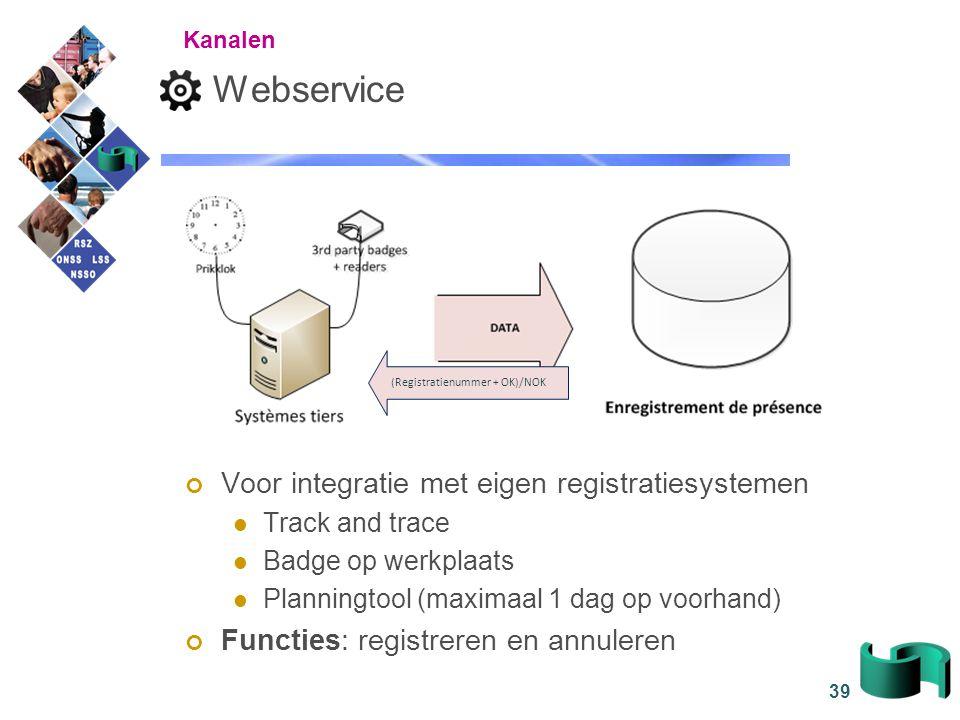 39 Webservice Voor integratie met eigen registratiesystemen Track and trace Badge op werkplaats Planningtool (maximaal 1 dag op voorhand) Functies: re