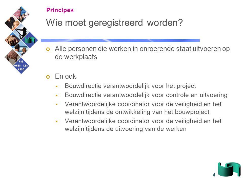 15 Overzicht Principes De link met de 'Aangifte van werken' Context, actoren en gegevens Kanalen Consultatie Verantwoordelijkheden Praktische organisatie FAQ