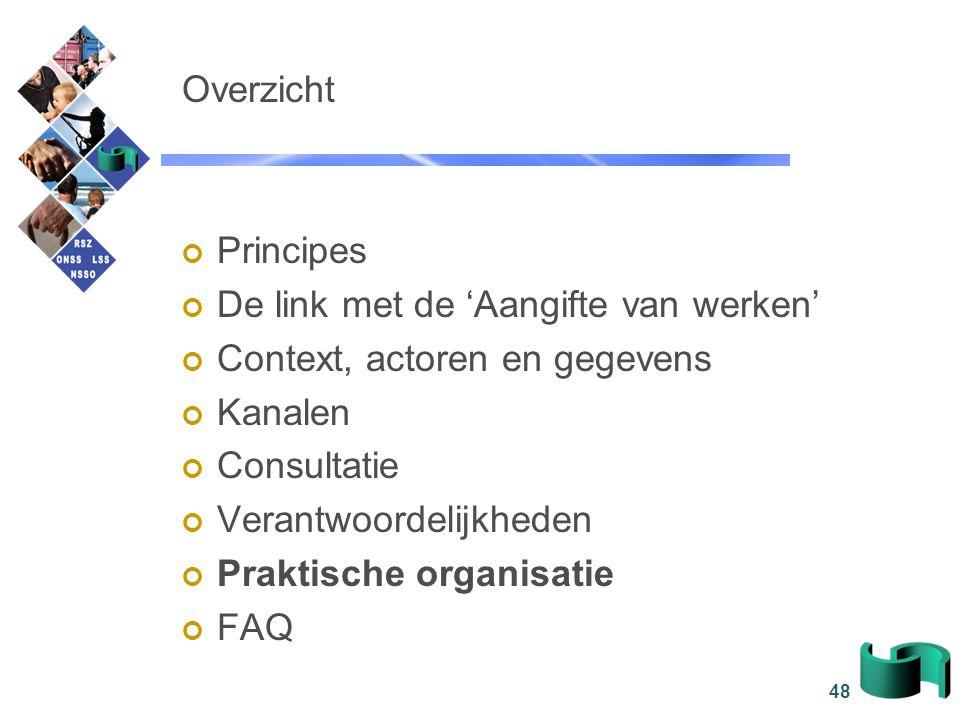 48 Overzicht Principes De link met de 'Aangifte van werken' Context, actoren en gegevens Kanalen Consultatie Verantwoordelijkheden Praktische organisa