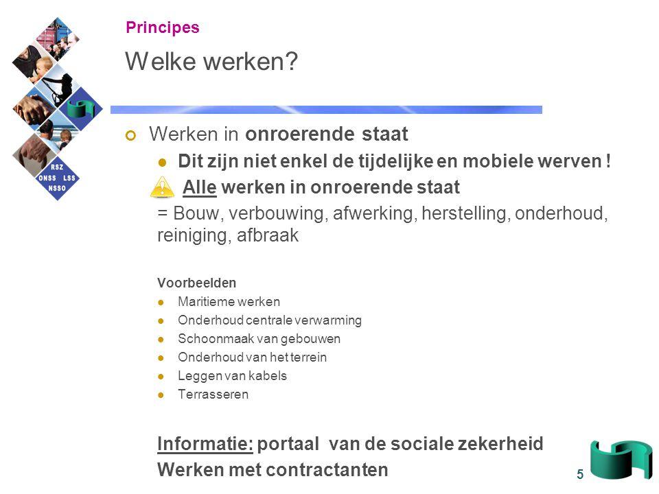 56 Overzicht Principes De link met de 'Aangifte van werken' Context, actoren en gegevens Kanalen Consultatie Verantwoordelijkheden Praktische organisatie FAQ