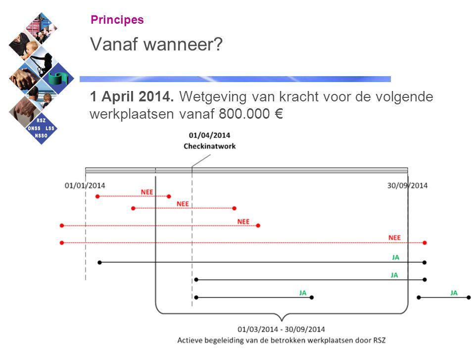 7 Vanaf wanneer? 1 April 2014. Wetgeving van kracht voor de volgende werkplaatsen vanaf 800.000 € Principes