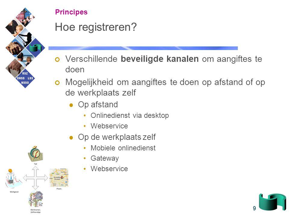 9 Hoe registreren? Verschillende beveiligde kanalen om aangiftes te doen Mogelijkheid om aangiftes te doen op afstand of op de werkplaats zelf Op afst