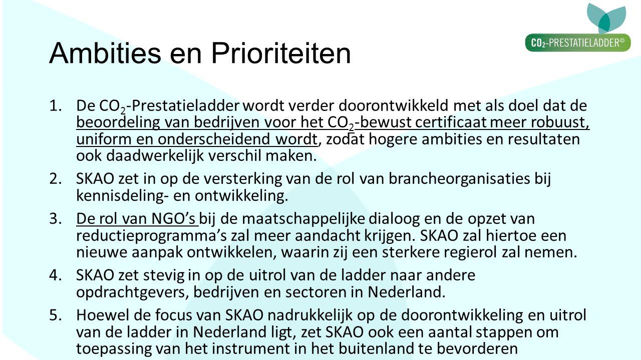 Ambities en Prioriteiten 1.De CO 2 -Prestatieladder wordt verder doorontwikkeld met als doel dat de beoordeling van bedrijven voor het CO 2 -bewust ce