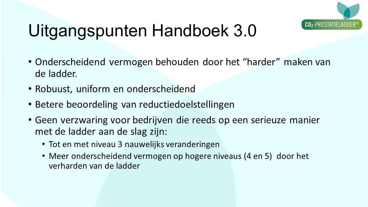"""Uitgangspunten Handboek 3.0 Onderscheidend vermogen behouden door het """"harder"""" maken van de ladder. Robuust, uniform en onderscheidend Betere beoordel"""