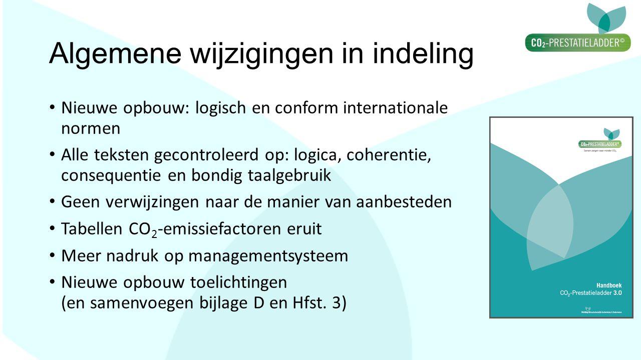 Algemene wijzigingen in indeling Nieuwe opbouw: logisch en conform internationale normen Alle teksten gecontroleerd op: logica, coherentie, consequent