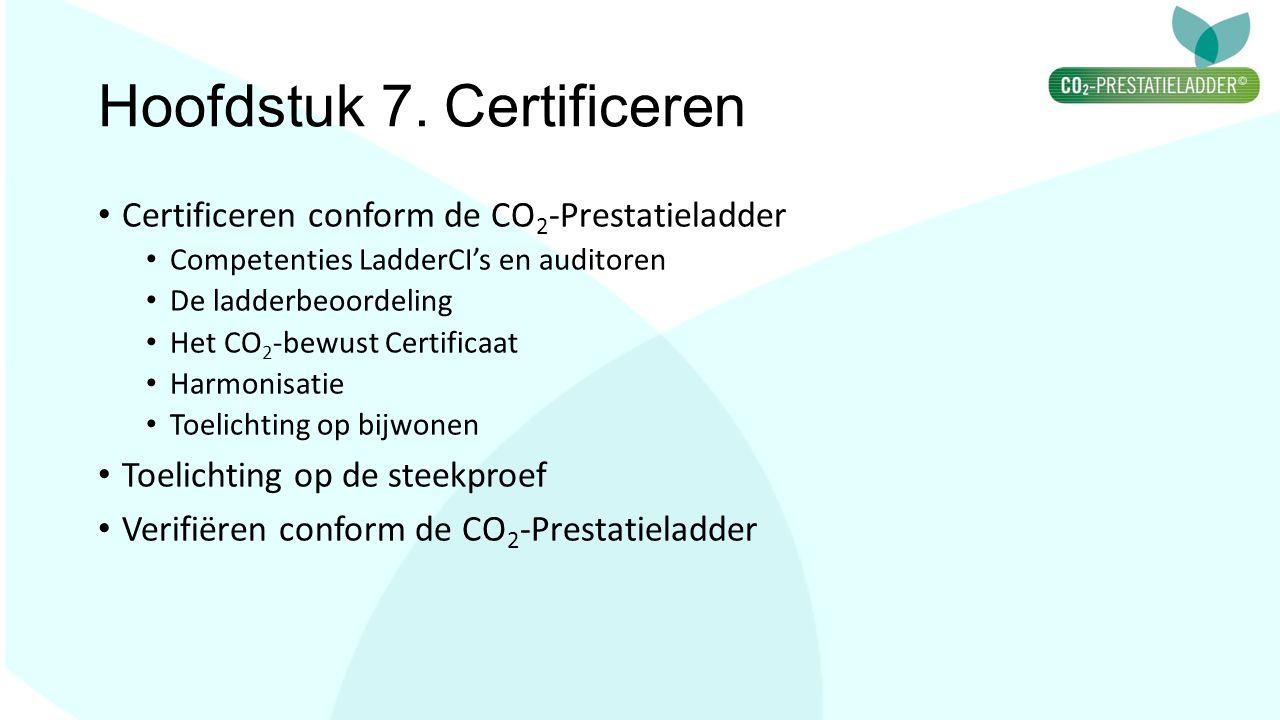 Hoofdstuk 7. Certificeren Certificeren conform de CO 2 -Prestatieladder Competenties LadderCI's en auditoren De ladderbeoordeling Het CO 2 -bewust Cer