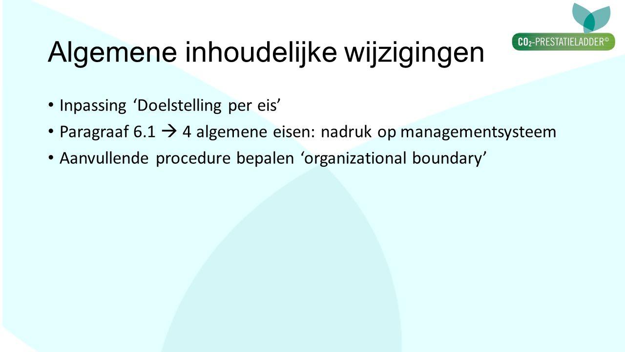 Algemene inhoudelijke wijzigingen Inpassing 'Doelstelling per eis' Paragraaf 6.1  4 algemene eisen: nadruk op managementsysteem Aanvullende procedure