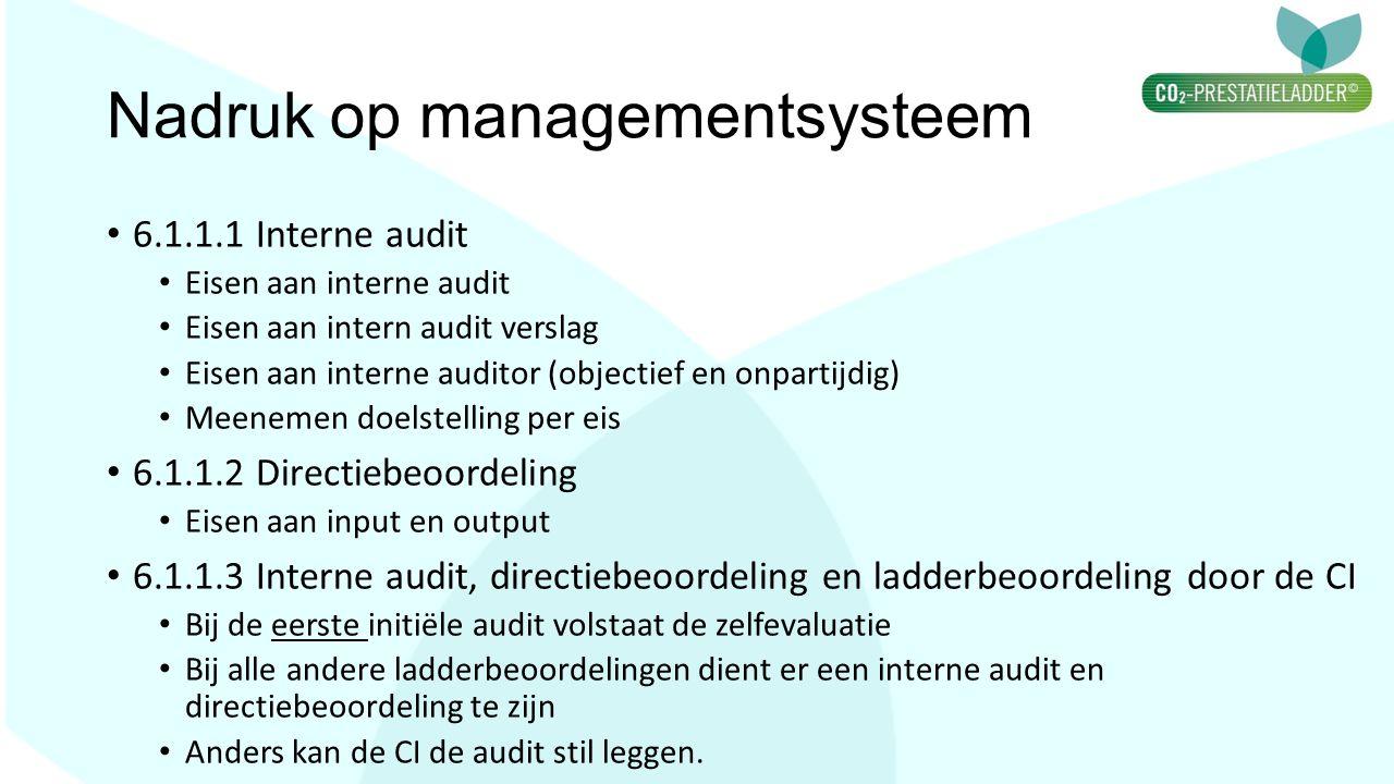 Nadruk op managementsysteem 6.1.1.1 Interne audit Eisen aan interne audit Eisen aan intern audit verslag Eisen aan interne auditor (objectief en onpar