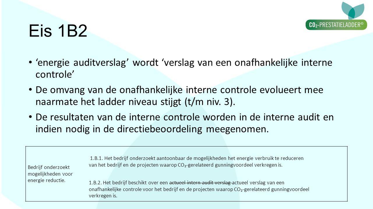 Eis 1B2 'energie auditverslag' wordt 'verslag van een onafhankelijke interne controle' De omvang van de onafhankelijke interne controle evolueert mee