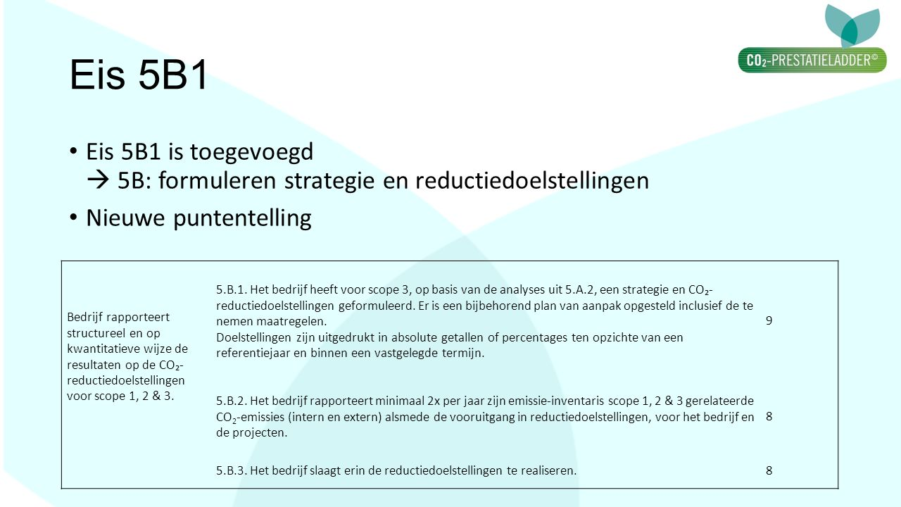 Eis 5B1 Eis 5B1 is toegevoegd  5B: formuleren strategie en reductiedoelstellingen Nieuwe puntentelling Bedrijf rapporteert structureel en op kwantita