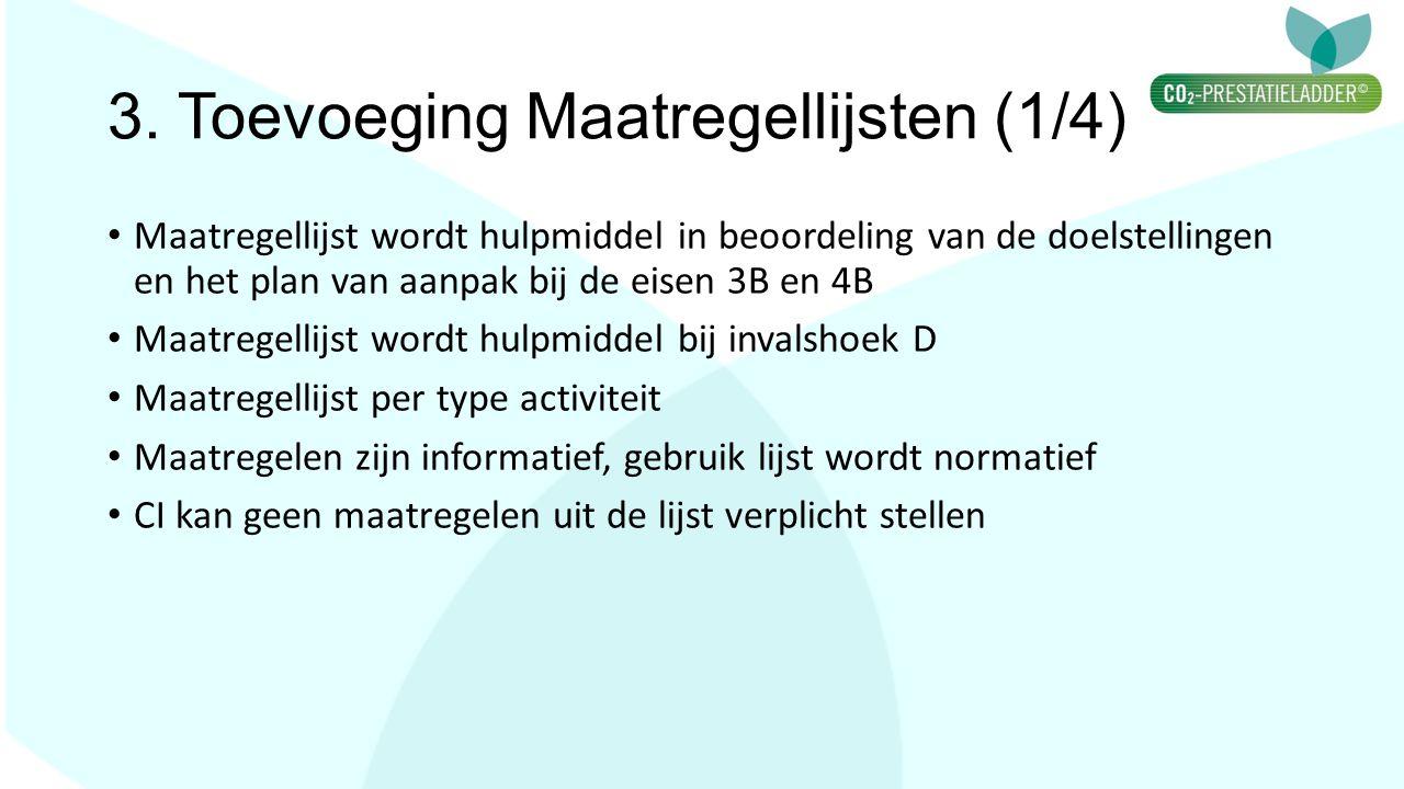 3. Toevoeging Maatregellijsten (1/4) Maatregellijst wordt hulpmiddel in beoordeling van de doelstellingen en het plan van aanpak bij de eisen 3B en 4B