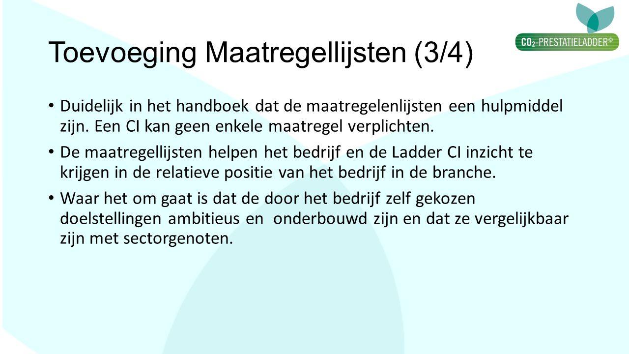 Toevoeging Maatregellijsten (3/4) Duidelijk in het handboek dat de maatregelenlijsten een hulpmiddel zijn. Een CI kan geen enkele maatregel verplichte