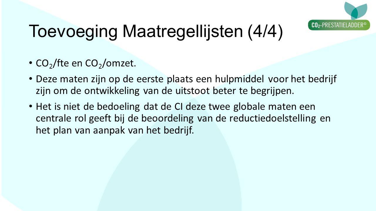 Toevoeging Maatregellijsten (4/4) CO 2 /fte en CO 2 /omzet. Deze maten zijn op de eerste plaats een hulpmiddel voor het bedrijf zijn om de ontwikkelin