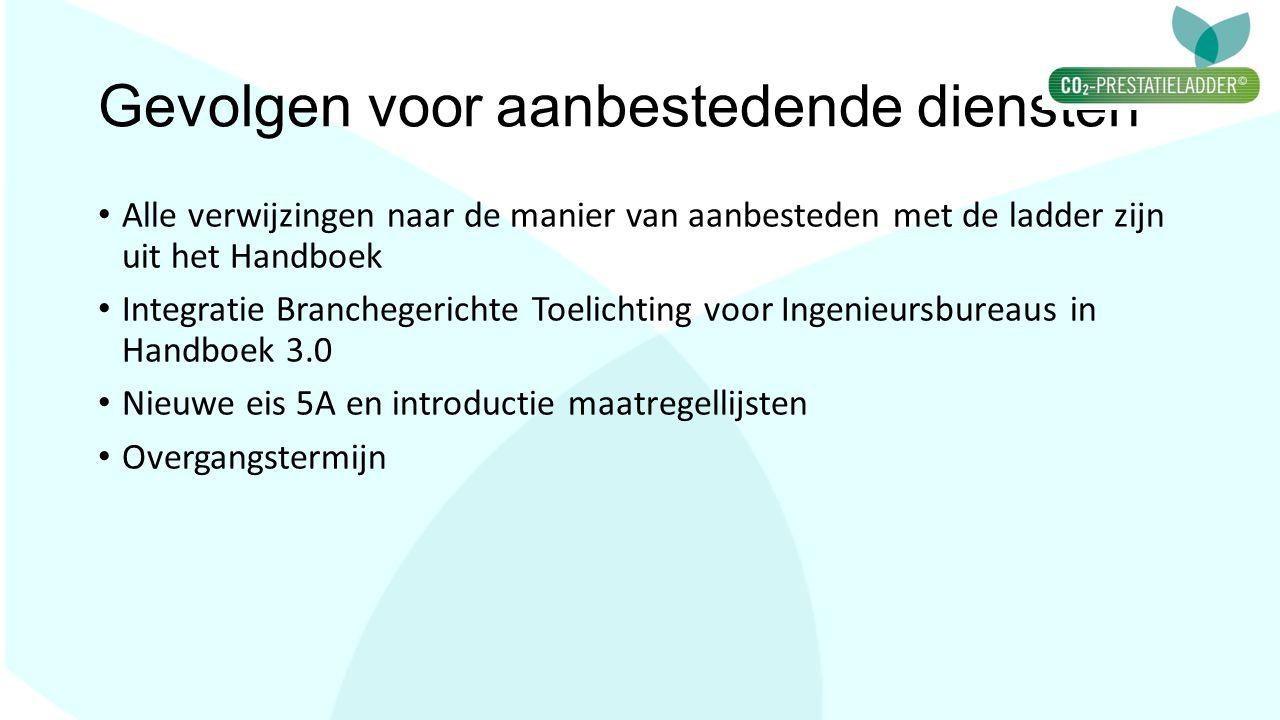 Gevolgen voor aanbestedende diensten Alle verwijzingen naar de manier van aanbesteden met de ladder zijn uit het Handboek Integratie Branchegerichte T