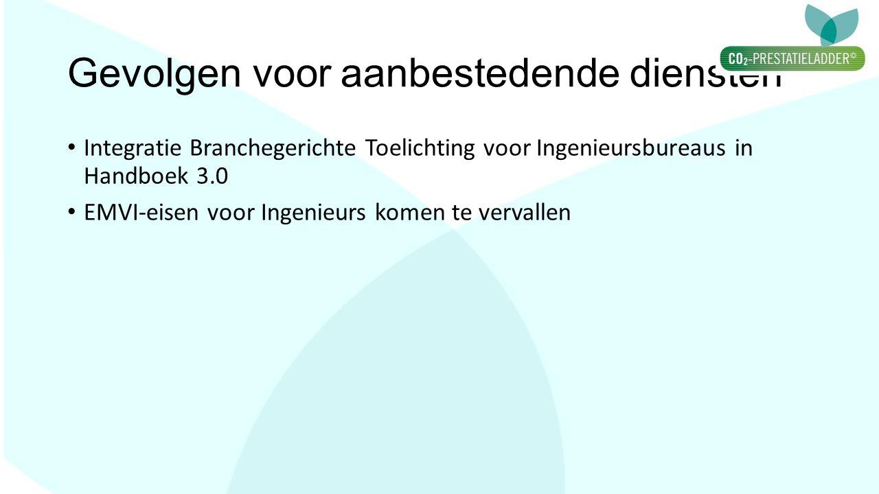 Gevolgen voor aanbestedende diensten Integratie Branchegerichte Toelichting voor Ingenieursbureaus in Handboek 3.0 EMVI-eisen voor Ingenieurs komen te