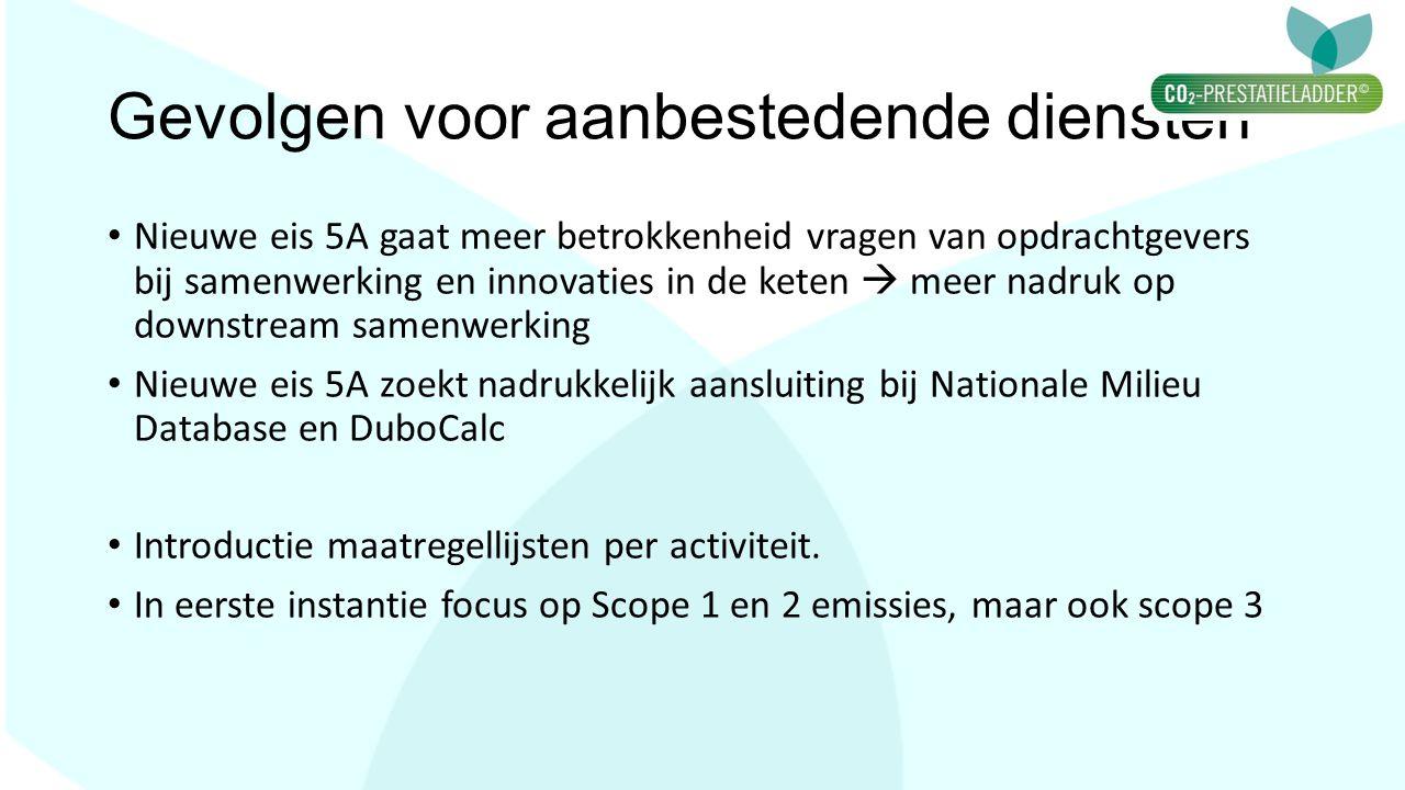 Gevolgen voor aanbestedende diensten Nieuwe eis 5A gaat meer betrokkenheid vragen van opdrachtgevers bij samenwerking en innovaties in de keten  meer