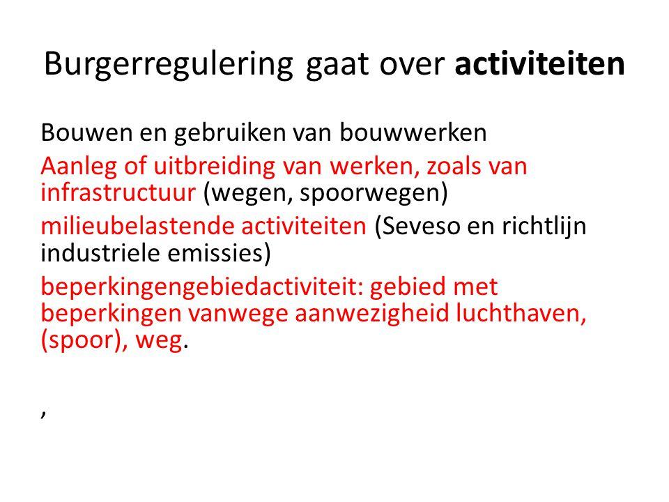 Burgerregulering gaat over activiteiten Bouwen en gebruiken van bouwwerken Aanleg of uitbreiding van werken, zoals van infrastructuur (wegen, spoorweg