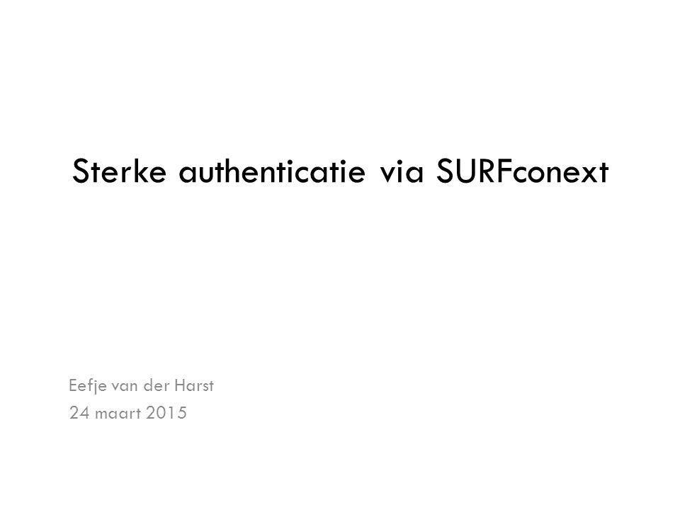 Sterke authenticatie via SURFconext Eefje van der Harst 24 maart 2015