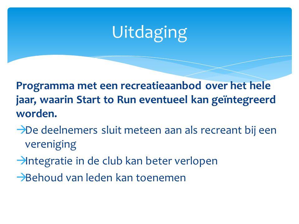 Programma met een recreatieaanbod over het hele jaar, waarin Start to Run eventueel kan geïntegreerd worden.