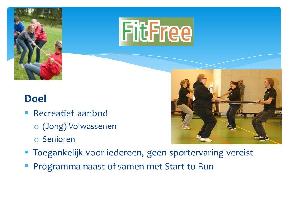 Doel  Recreatief aanbod o (Jong) Volwassenen o Senioren  Toegankelijk voor iedereen, geen sportervaring vereist  Programma naast of samen met Start to Run FitFree