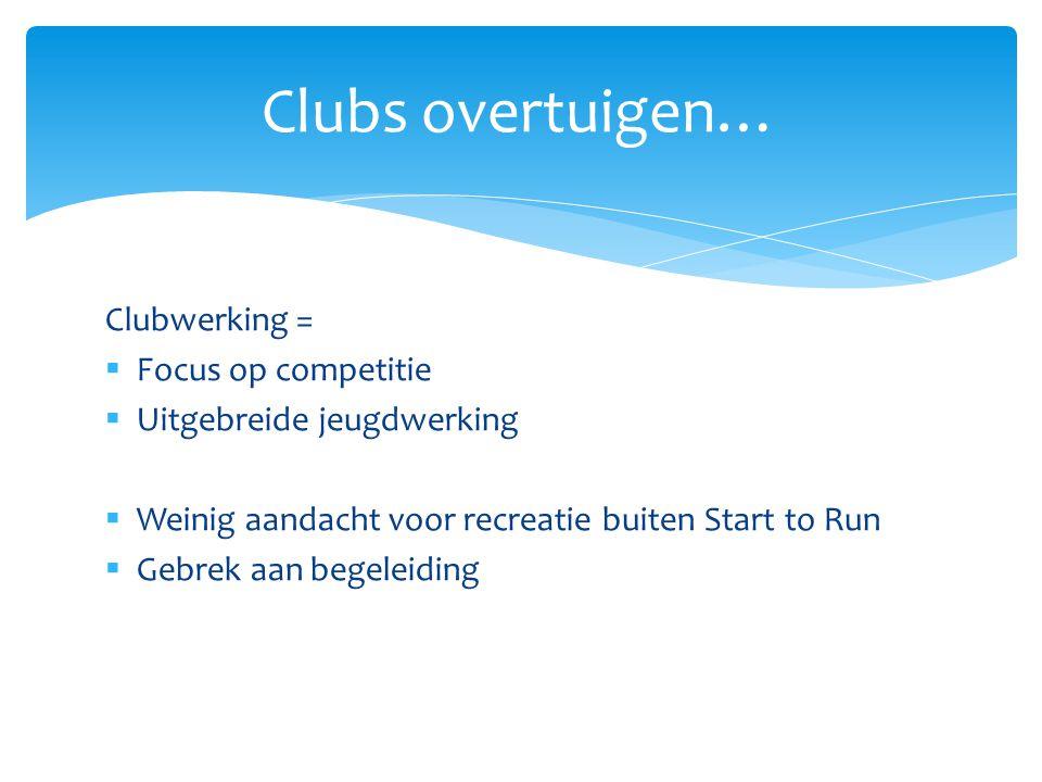 Clubwerking =  Focus op competitie  Uitgebreide jeugdwerking  Weinig aandacht voor recreatie buiten Start to Run  Gebrek aan begeleiding Clubs overtuigen…