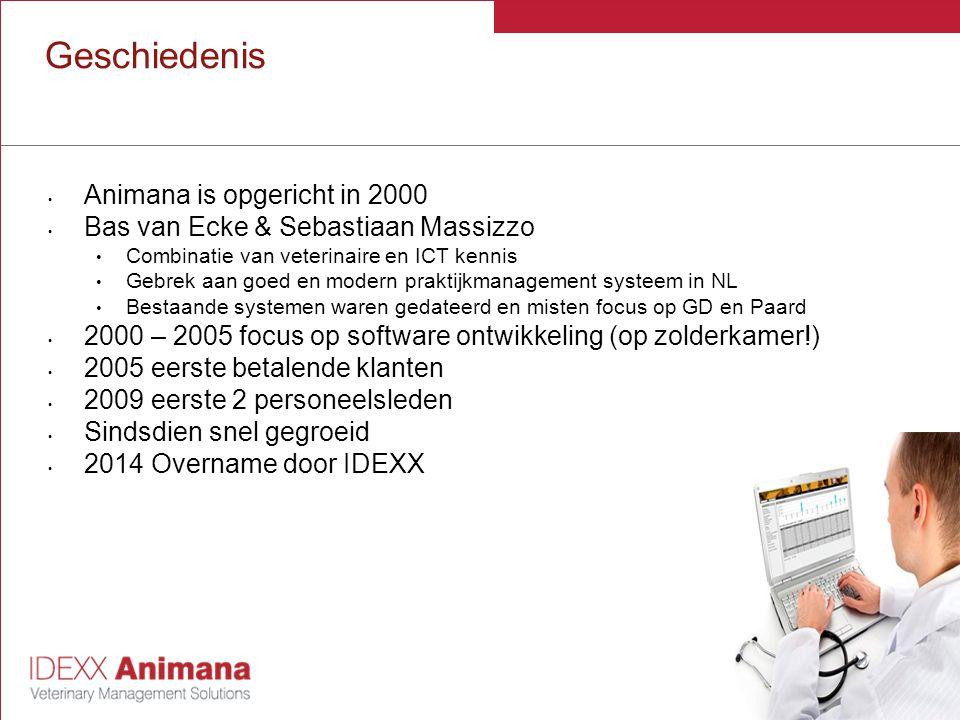 Huidige Situatie 50% van de dierenartsenpraktijken (#600, ) in Nederland gebruikt Animana Elke week komen er ~2 nieuwe praktijken bij Grote variatie in gebruikers Gezelschapsdieren, Paard, LHD, Specialistenklinieken, gemengde praktijken 1 locatie / 1 d arts - mobiele praktijken - 15 locaties / 30 d artsen - ketens/franchise formules Animana team NL heeft nu +/- 30 medewerkers Team in Nederland ondersteunt alle markten, eigen sales organisatie in UK, DE en Nordics Animana heeft momenteel gebruikers in 12 landen (UK, USA, Canada, NL, Belgie, Zweden,....)