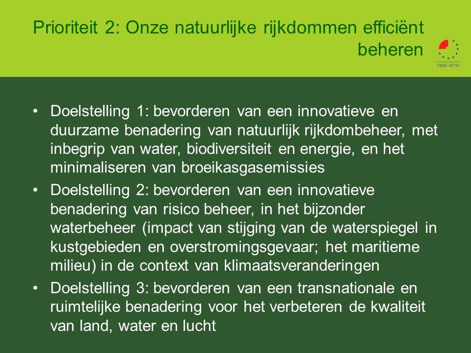 Doelstelling 1: bevorderen van een innovatieve en duurzame benadering van natuurlijk rijkdombeheer, met inbegrip van water, biodiversiteit en energie, en het minimaliseren van broeikasgasemissies Doelstelling 2: bevorderen van een innovatieve benadering van risico beheer, in het bijzonder waterbeheer (impact van stijging van de waterspiegel in kustgebieden en overstromingsgevaar; het maritieme milieu) in de context van klimaatsveranderingen Doelstelling 3: bevorderen van een transnationale en ruimtelijke benadering voor het verbeteren de kwaliteit van land, water en lucht Prioriteit 2: Onze natuurlijke rijkdommen efficiënt beheren