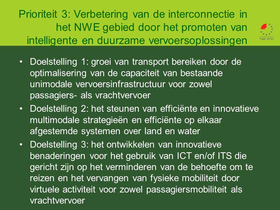 Doelstelling 1: groei van transport bereiken door de optimalisering van de capaciteit van bestaande unimodale vervoersinfrastructuur voor zowel passagiers- als vrachtvervoer Doelstelling 2: het steunen van efficiënte en innovatieve multimodale strategieën en efficiënte op elkaar afgestemde systemen over land en water Doelstelling 3: het ontwikkelen van innovatieve benaderingen voor het gebruik van ICT en/of ITS die gericht zijn op het verminderen van de behoefte om te reizen en het vervangen van fysieke mobiliteit door virtuele activiteit voor zowel passagiersmobiliteit als vrachtvervoer Prioriteit 3: Verbetering van de interconnectie in het NWE gebied door het promoten van intelligente en duurzame vervoersoplossingen