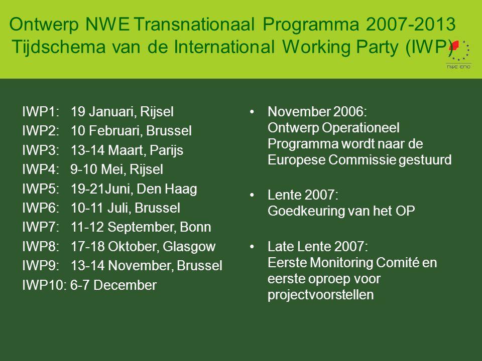 IWP1:19 Januari, Rijsel IWP2:10 Februari, Brussel IWP3:13-14 Maart, Parijs IWP4:9-10 Mei, Rijsel IWP5:19-21Juni, Den Haag IWP6:10-11 Juli, Brussel IWP7:11-12 September, Bonn IWP8:17-18 Oktober, Glasgow IWP9:13-14 November, Brussel IWP10:6-7 December Ontwerp NWE Transnationaal Programma 2007-2013 Tijdschema van de International Working Party (IWP) November 2006: Ontwerp Operationeel Programma wordt naar de Europese Commissie gestuurd Lente 2007: Goedkeuring van het OP Late Lente 2007: Eerste Monitoring Comité en eerste oproep voor projectvoorstellen