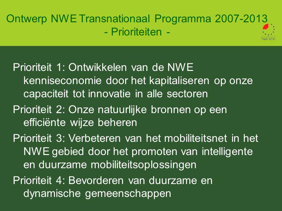 Prioriteit 1: Ontwikkelen van de NWE kenniseconomie door het kapitaliseren op onze capaciteit tot innovatie in alle sectoren Prioriteit 2: Onze natuurlijke bronnen op een efficiënte wijze beheren Prioriteit 3: Verbeteren van het mobiliteitsnet in het NWE gebied door het promoten van intelligente en duurzame mobiliteitsoplossingen Prioriteit 4: Bevorderen van duurzame en dynamische gemeenschappen Ontwerp NWE Transnationaal Programma 2007-2013 - Prioriteiten -