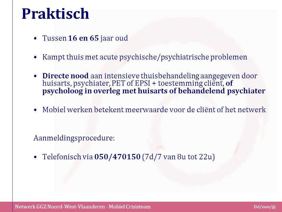 Netwerk GGZ Noord-West-Vlaanderen - Mobiel Crisisteam Dd/mm/jjj Praktisch Tussen 16 en 65 jaar oud Kampt thuis met acute psychische/psychiatrische pro