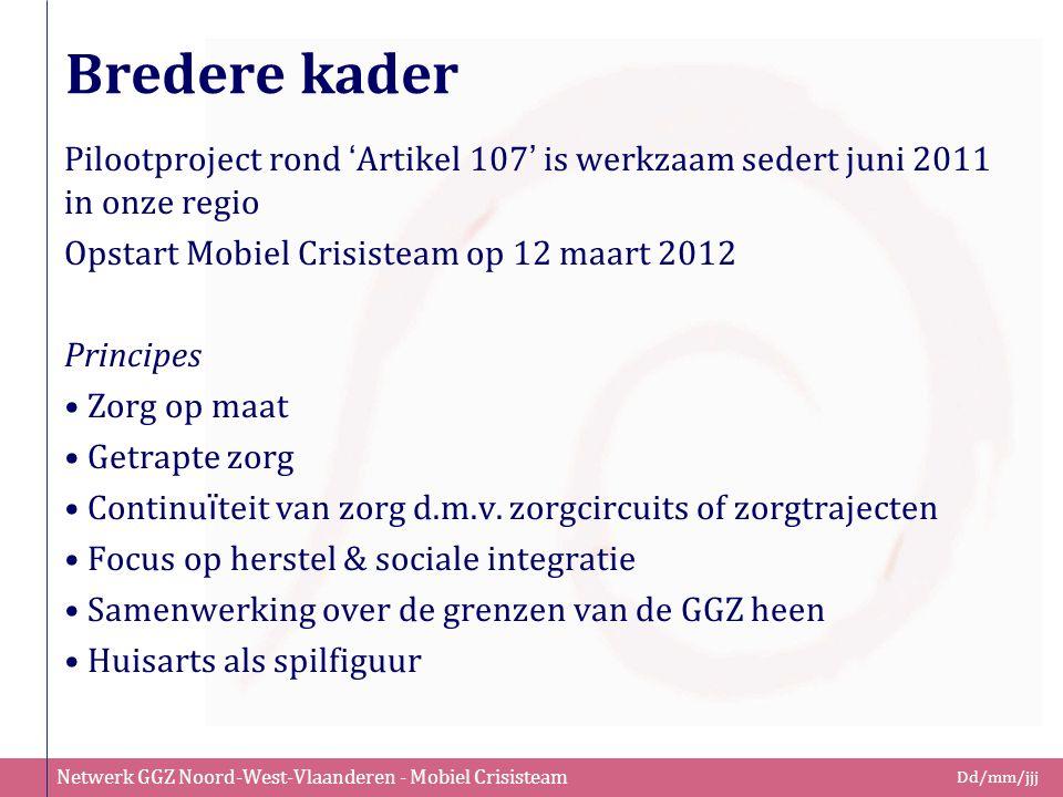 Netwerk GGZ Noord-West-Vlaanderen - Mobiel Crisisteam Dd/mm/jjj Bredere kader Pilootproject rond ' Artikel 107 ' is werkzaam sedert juni 2011 in onze