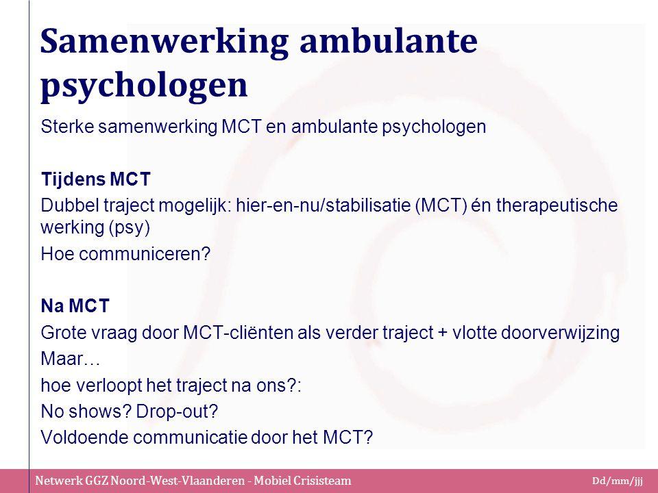 Netwerk GGZ Noord-West-Vlaanderen - Mobiel Crisisteam Dd/mm/jjj Samenwerking ambulante psychologen Sterke samenwerking MCT en ambulante psychologen Ti
