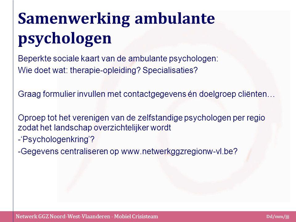 Netwerk GGZ Noord-West-Vlaanderen - Mobiel Crisisteam Dd/mm/jjj Samenwerking ambulante psychologen Beperkte sociale kaart van de ambulante psychologen