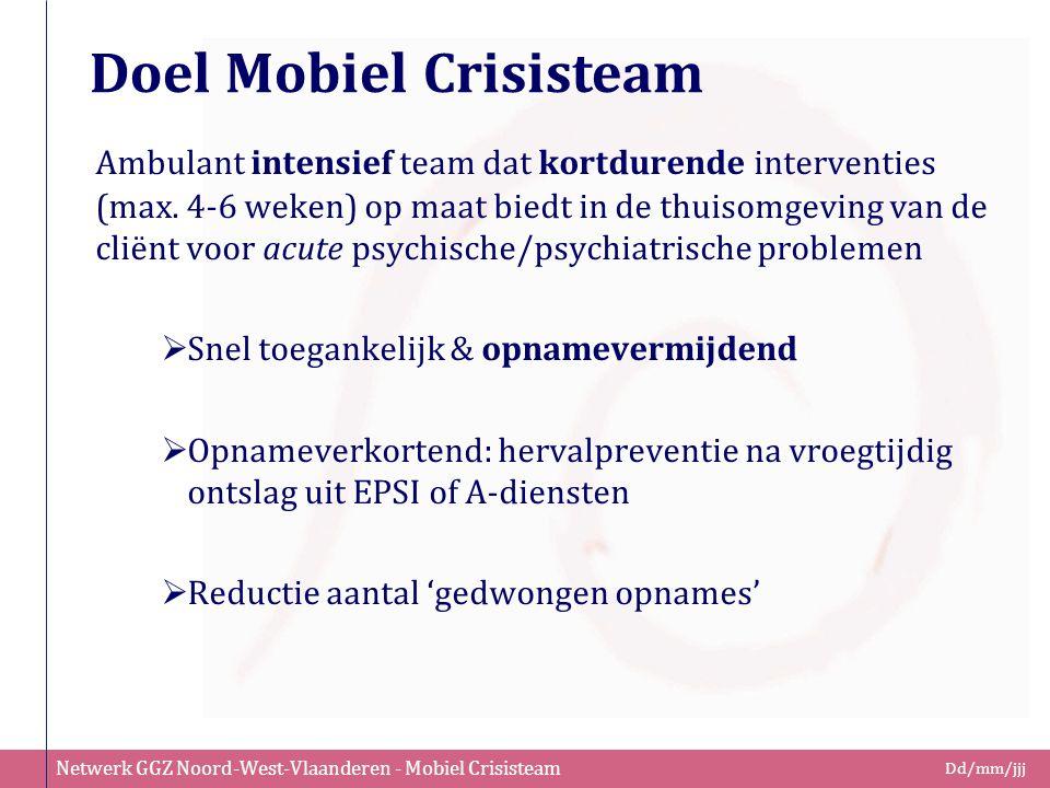 Netwerk GGZ Noord-West-Vlaanderen - Mobiel Crisisteam Dd/mm/jjj Doel Mobiel Crisisteam Ambulant intensief team dat kortdurende interventies (max. 4-6