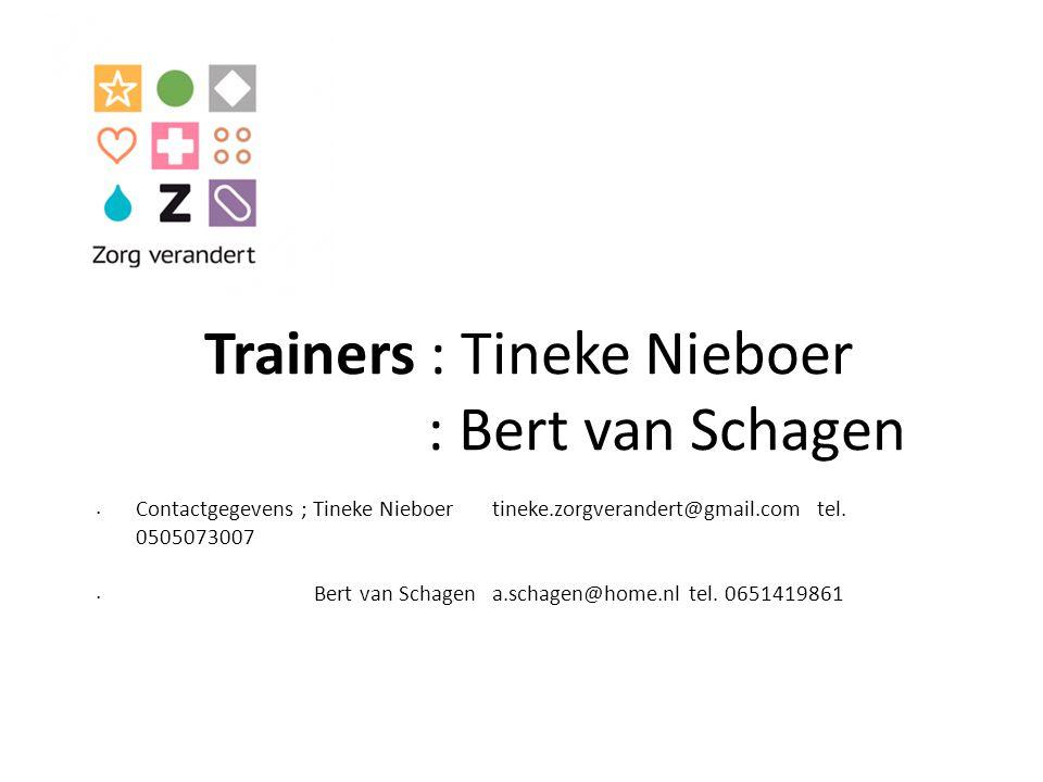 Trainers : Tineke Nieboer : Bert van Schagen Contactgegevens ; Tineke Nieboer tineke.zorgverandert@gmail.com tel. 0505073007 Bert van Schagen a.schage