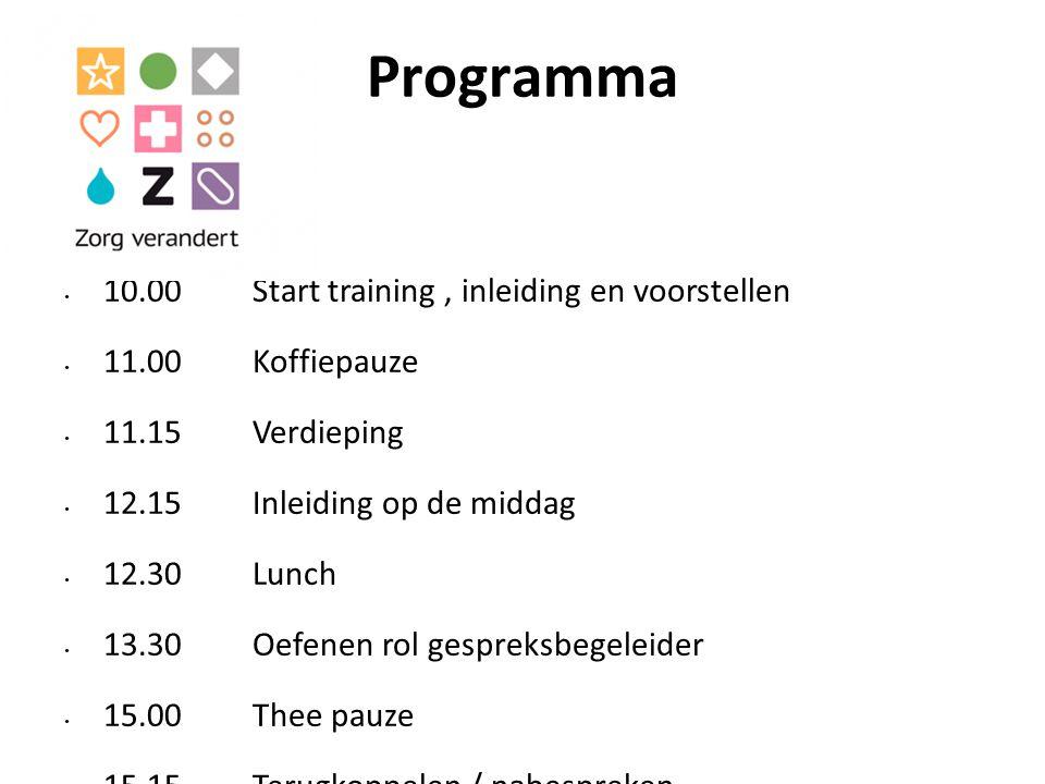 Programma 10.00 Start training, inleiding en voorstellen 11.00 Koffiepauze 11.15 Verdieping 12.15 Inleiding op de middag 12.30 Lunch 13.30 Oefenen rol