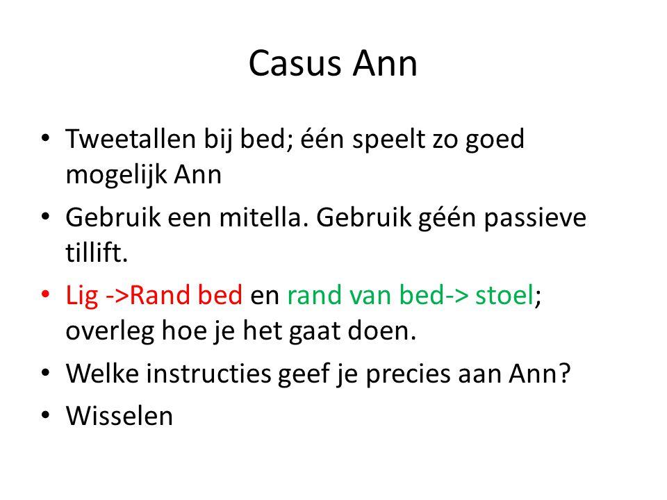 Casus Ann Tweetallen bij bed; één speelt zo goed mogelijk Ann Gebruik een mitella. Gebruik géén passieve tillift. Lig ->Rand bed en rand van bed-> sto