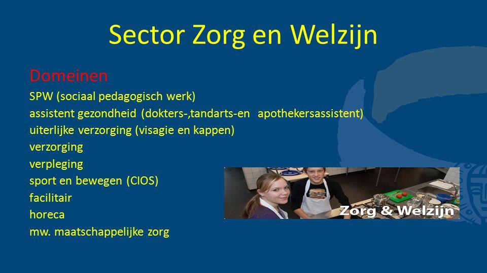 Sector Zorg en Welzijn Domeinen SPW (sociaal pedagogisch werk) assistent gezondheid (dokters-,tandarts-en apothekersassistent) uiterlijke verzorging (