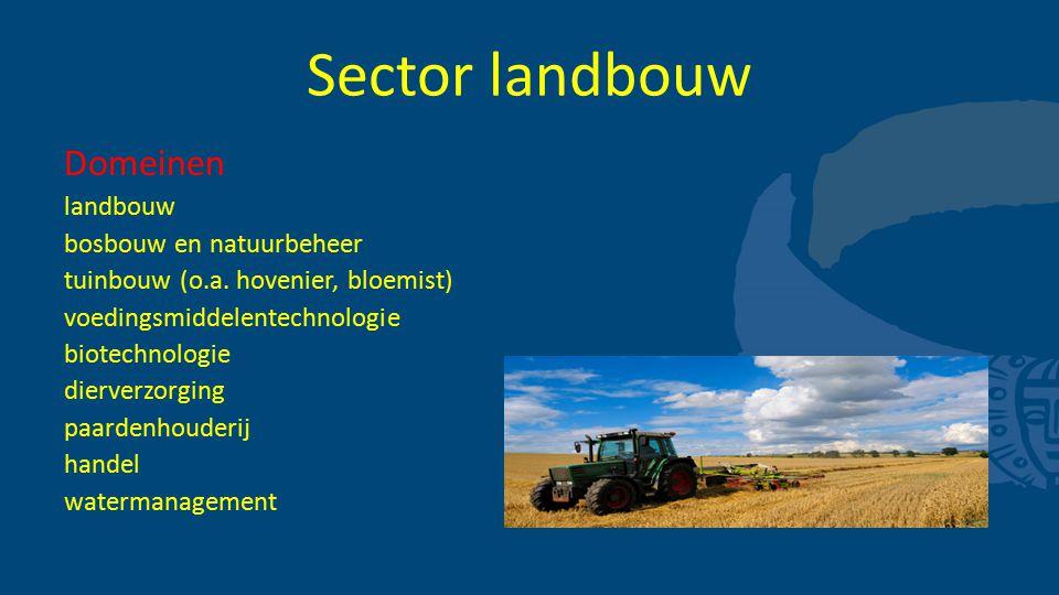 Sector landbouw Domeinen landbouw bosbouw en natuurbeheer tuinbouw (o.a. hovenier, bloemist) voedingsmiddelentechnologie biotechnologie dierverzorging