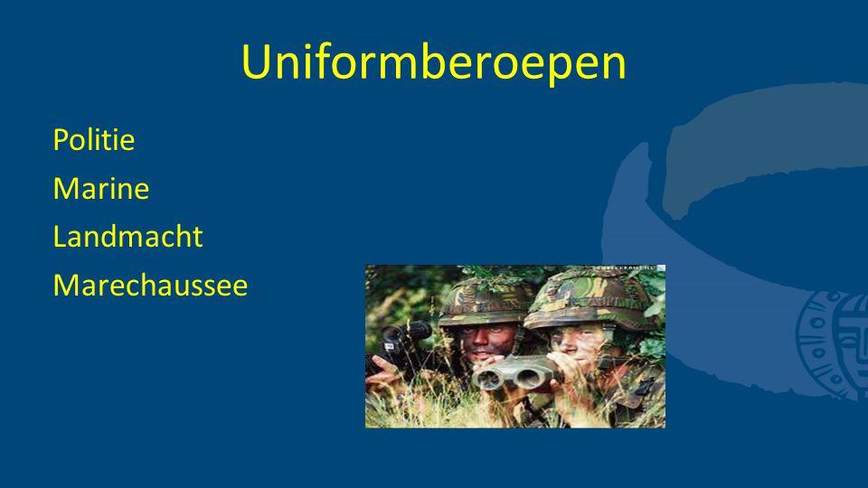 Uniformberoepen Politie Marine Landmacht Marechaussee