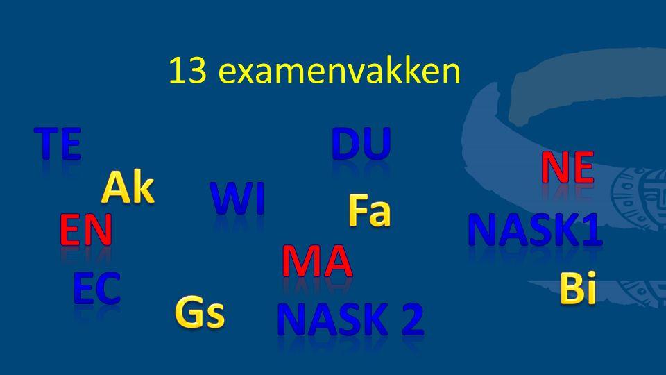 13 examenvakken