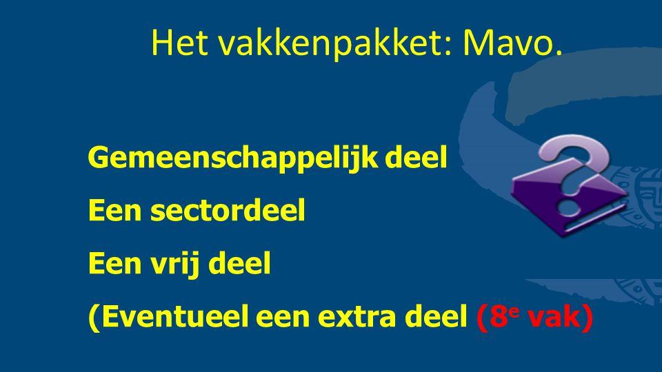 Het vakkenpakket: Mavo. Gemeenschappelijk deel Een sectordeel Een vrij deel (Eventueel een extra deel (8 e vak)