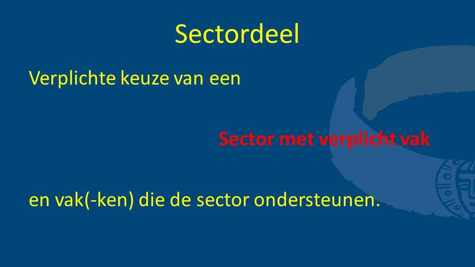 Sectordeel Verplichte keuze van een Sector met verplicht vak en vak(-ken) die de sector ondersteunen.
