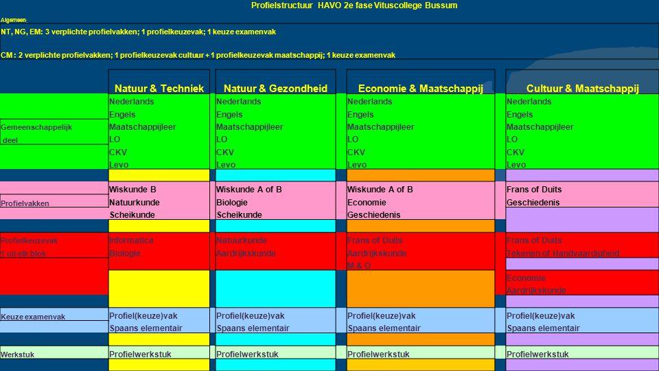 Profielstructuur HAVO 2e fase Vituscollege Bussum Algemeen : NT, NG, EM: 3 verplichte profielvakken; 1 profielkeuzevak; 1 keuze examenvak CM : 2 verpl