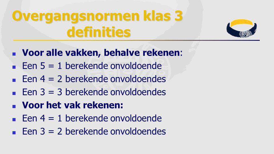 Overgangsnormen klas 3 definities Voor alle vakken, behalve rekenen: Een 5 = 1 berekende onvoldoende Een 4 = 2 berekende onvoldoendes Een 3 = 3 bereke
