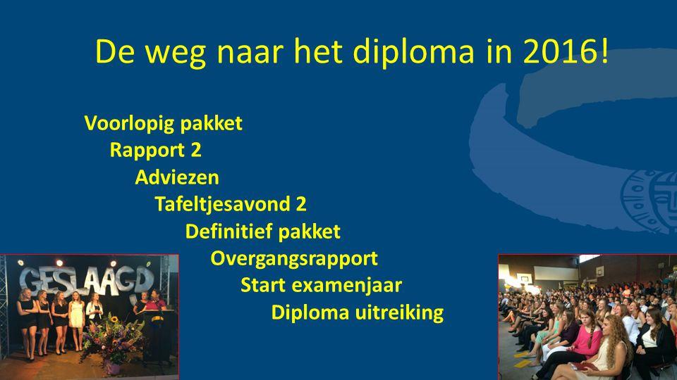 De weg naar het diploma in 2016! Voorlopig pakket Rapport 2 Adviezen Tafeltjesavond 2 Definitief pakket Overgangsrapport Start examenjaar Diploma uitr