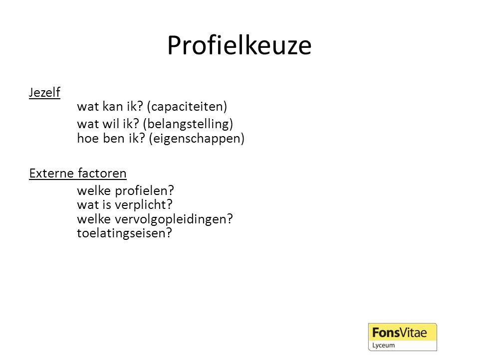 Profielkeuze Jezelf wat kan ik? (capaciteiten) wat wil ik? (belangstelling) hoe ben ik? (eigenschappen) Externe factoren welke profielen? wat is verpl